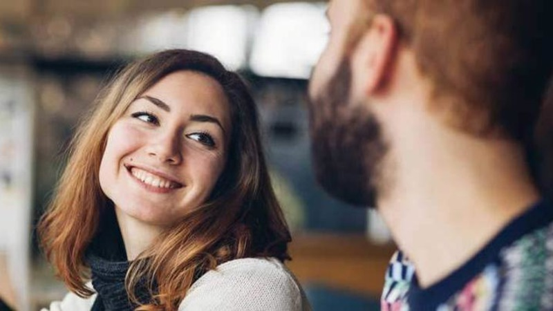 woman flirting on date